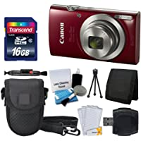 Canon PowerShot ELPH 180 Digital Camera (Red) + Transcend 16GB Memory Card + Camera Case + USB Card Reader + LCD Screen Protectors + Memory Card Wallet + Cleaning Pen + Ultimate Value Camera Bundle