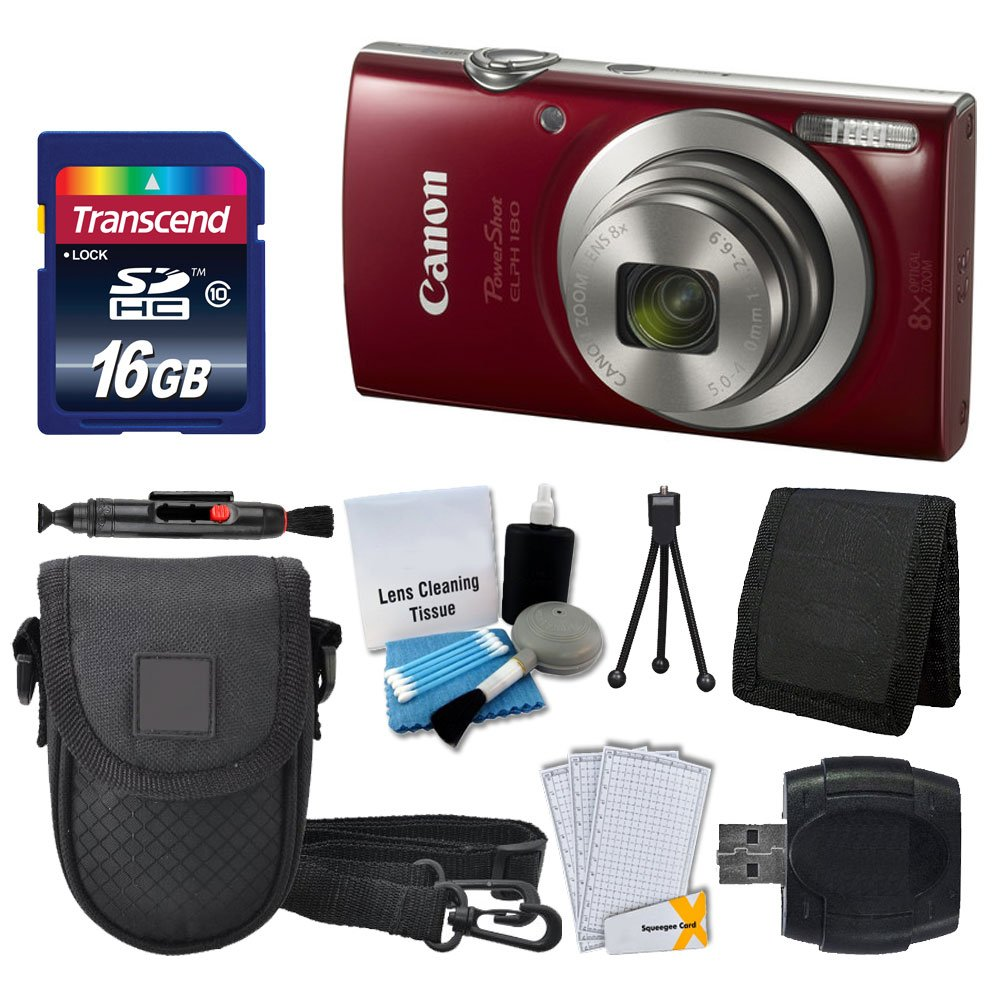 Canon PowerShot ELPH 180 Digital Camera (Red) + Transcend 16GB Memory Card + Camera Case + USB Card Reader + LCD Screen Protectors + Memory Card Wallet + Cleaning Pen + Ultimate Value Camera Bundle Canon ELPH 180 Red K1