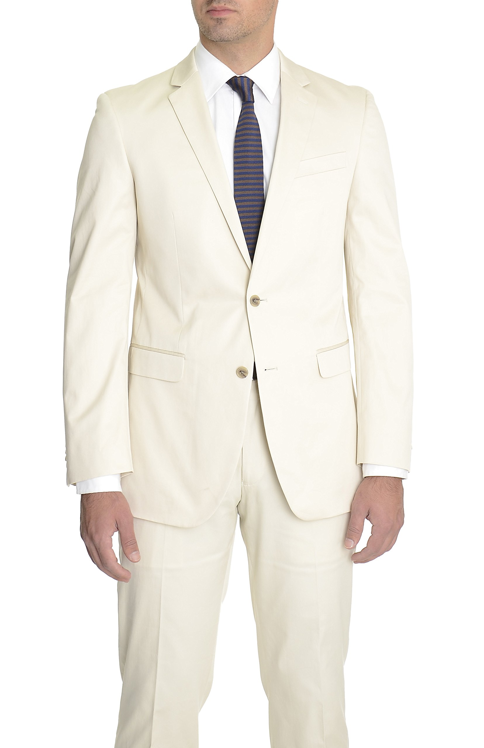 Kenneth Cole NY Slim Fit Collection Tan Two Button Cotton Summer Suit