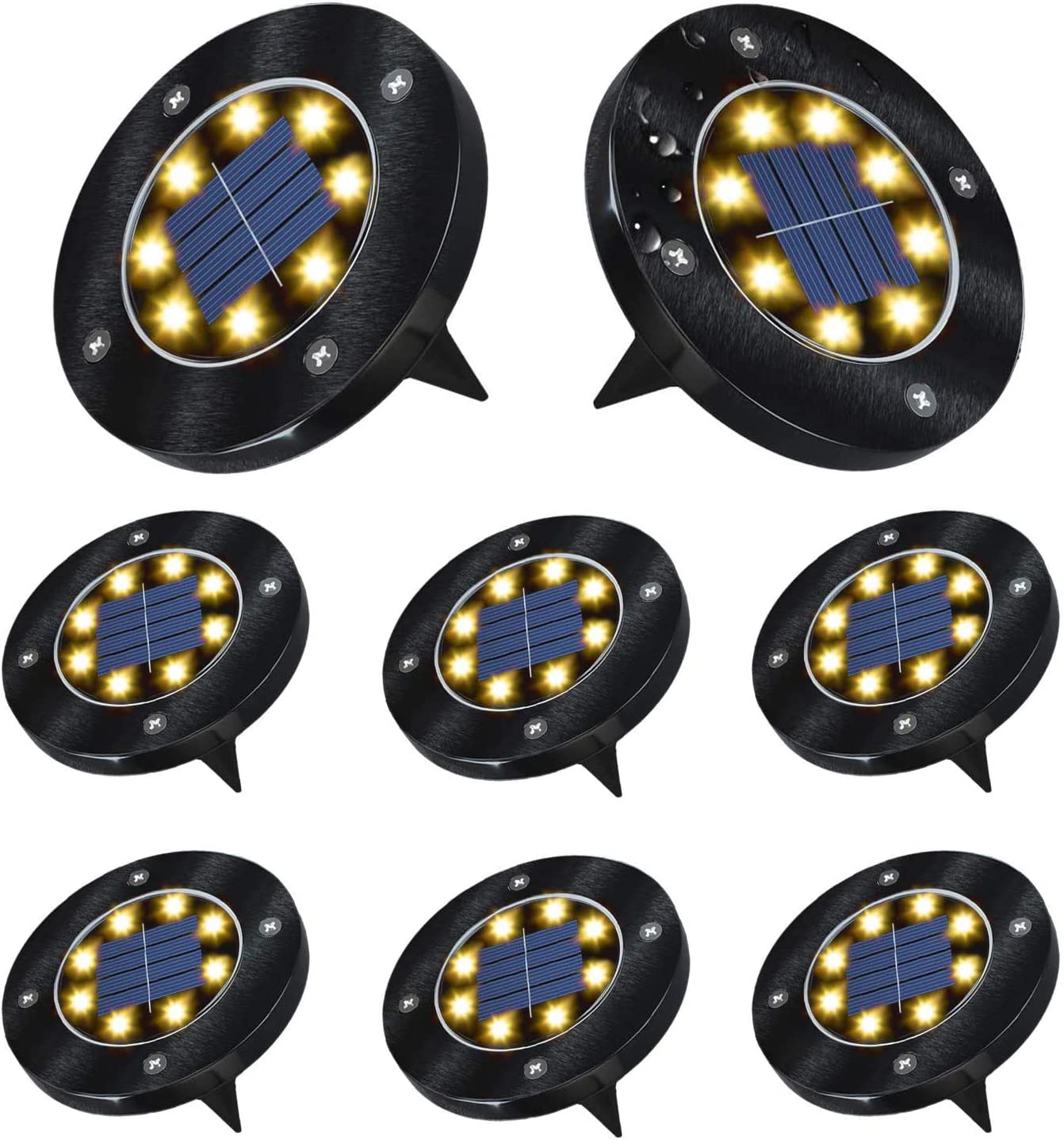 ACCGUYS Solar Ground Lights – Upgraded 8 LED Solar Disk Lights Garden Lights Outdoor Waterproof, In-Ground Landscape Lights for Lawn Yard Patio Pathway Walkway – Bright Warm White 8 Packs