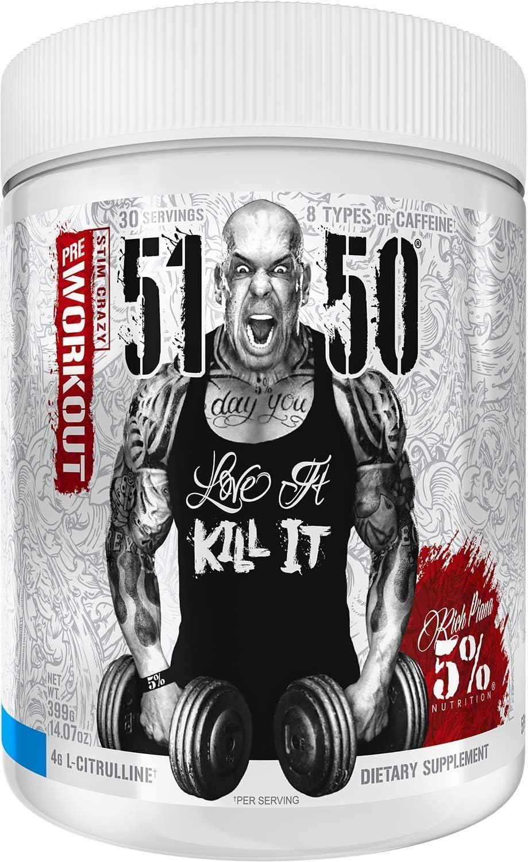 Rich Piana 5% Nutrition 5150 High Stim Pre-Workout Powder | Extreme Energy, Focus, Pumps & Endurance | 400 mg Caffeine, Citrulline, Beta Alanine, Tyrosine | 14.07 oz, 30 Srvgs (Blue Ice)