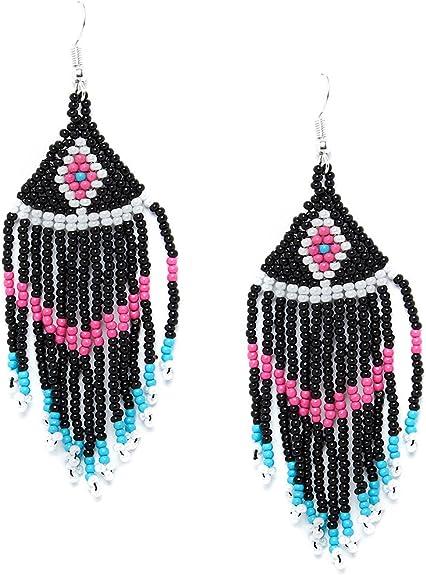 ZeroKaata/Fashion Jewellery Multicolored Triangular Motif Pattern Delicate Seed Beads Handmade Jewellery Earrings For Women /& Girls