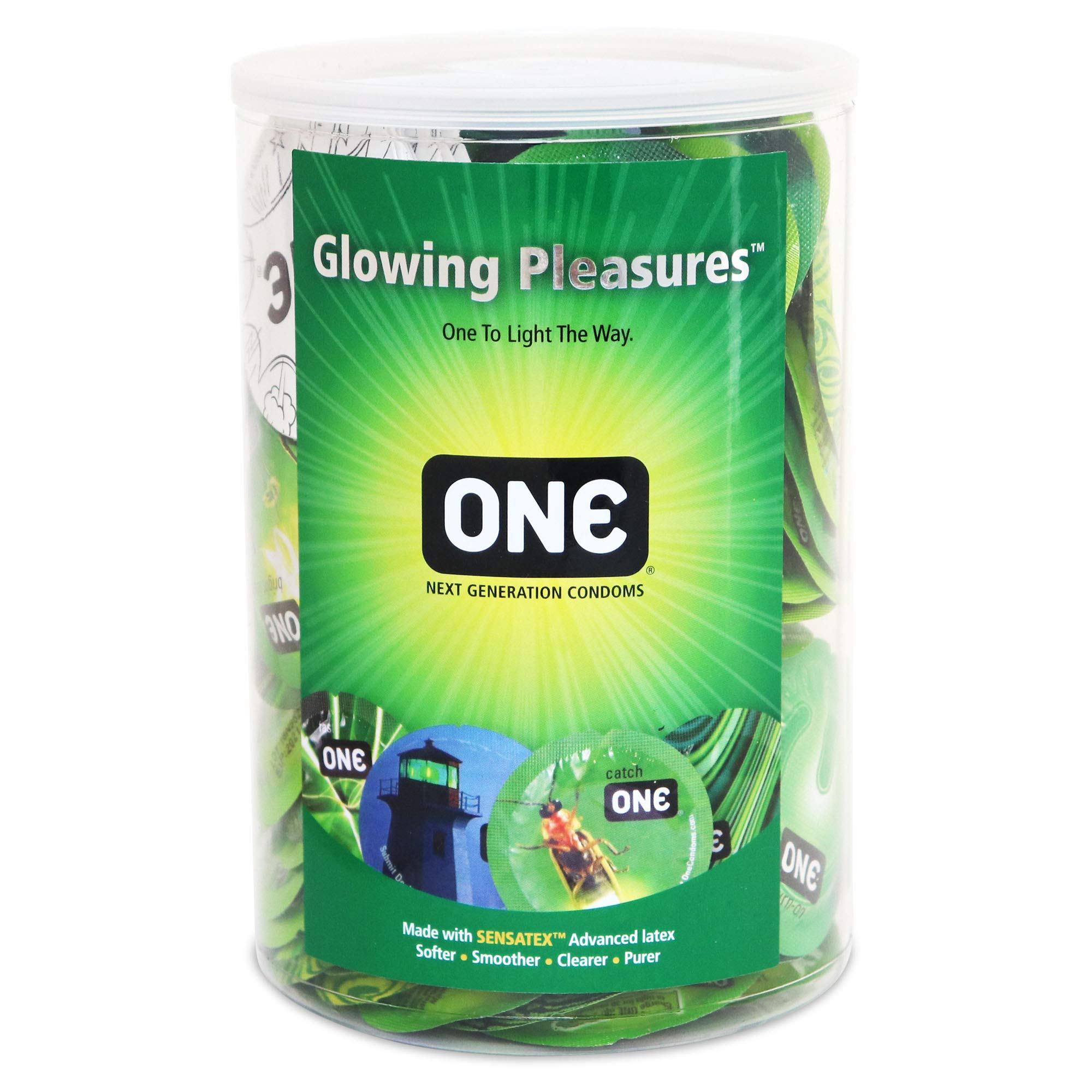 ONE Glowing Pleasures Glow-in-The-Dark Condoms-100 Count Display Bowl by ONE, Lunamax
