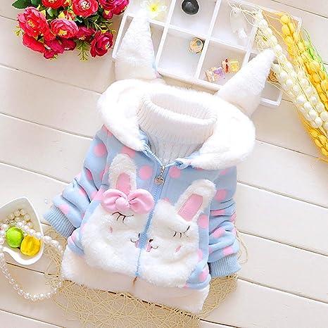 Gugutogo Bebé Cálido con Capucha Algodón Niño Conejo Abajo Abrigo Abrigos Sudaderas con capucha (Color