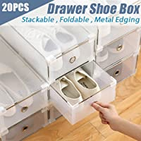 Generic Home Wardrobe Organiser Sta Box Organiser 20X Storage Clear Stackable Foldable Drawer Shoe Home Wardrobe 20X Storage Cle