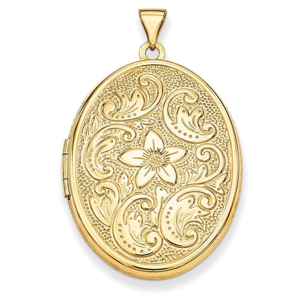 14K Yellow Gold 32mm Oval Flower with Scrolls Locket Pendant (32mm x 25mm)