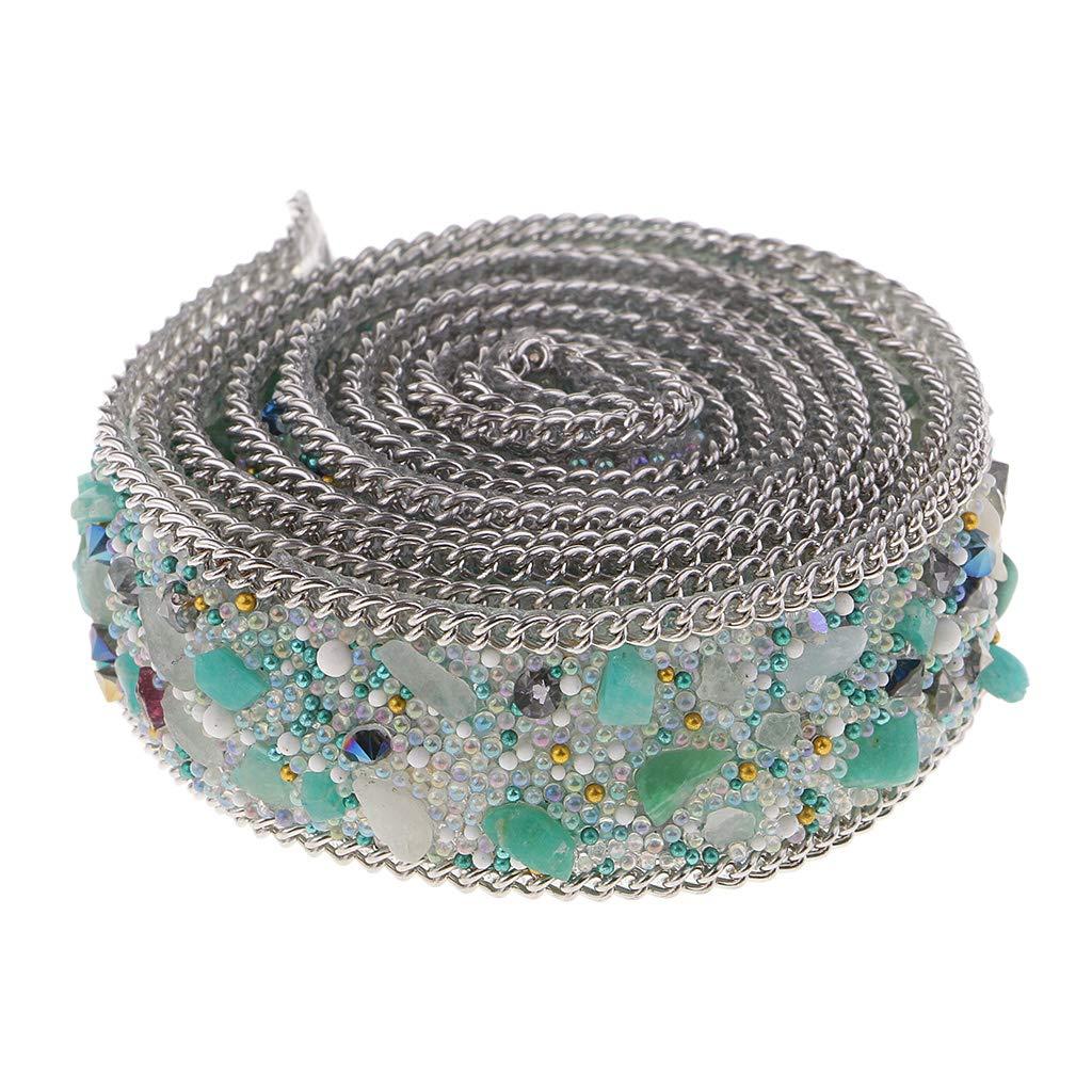 P Prettyia 2 Rotoli 20mm di Adesivi in Ferro Strass Decorativo per Cucire Tessuto a Strisce