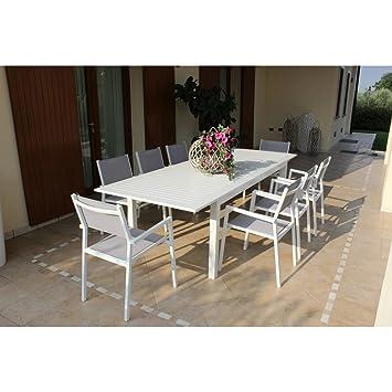 Gartentisch Mit Sechs Stühlen.Set Ausziehbarer Gartentisch Rechteckig 220 280 X 100 Cm