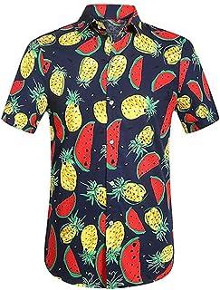 Mens Hawaiian Shirt Short Sleeve Button Down Casual Floral Beach Fit Dress Shirt