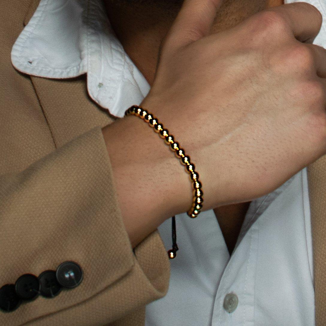 NAMANA Freundschafts-Armband mit Metall-Beads Unisex Perlenarmband mit verstellbarer schwarzer Schnur, für Sie und Ihn (Gold, Edelstahl)