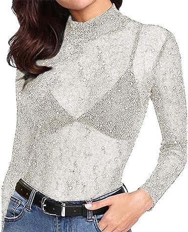 Blusas Transparentes Mujer, Lunule Camiseta de Malla de Manga Larga de Mujer Casual Camisa Blusa Tops para Mujer: Amazon.es: Ropa y accesorios