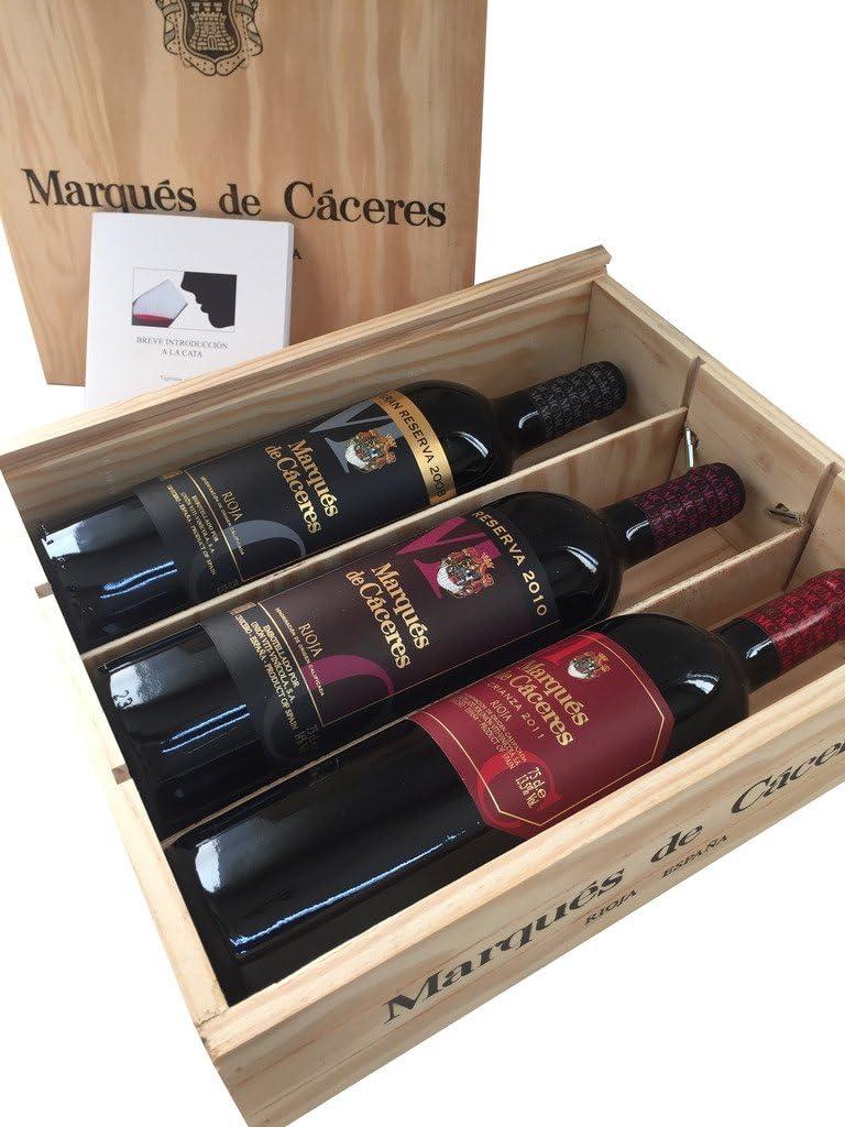 Caja de madera 3 botellas - Marqués de Caceres - Crianza/Reserva / Gran Reserva - Vino tinto: Amazon.es: Alimentación y bebidas