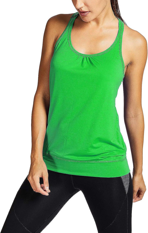 Ringerr/ücken Gym Elastische Fitness SYROKAN Damen Sport T-Shirt Tank Top
