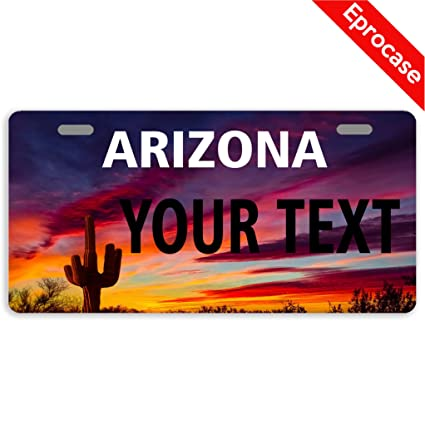 Arizona Personalized Plates >> Eprocase Custom Personalized License Plate Arizona License Plate Cover Decorative Car Tag Sign Metal Auto Tag Novelty Front License Plate 2 Holes