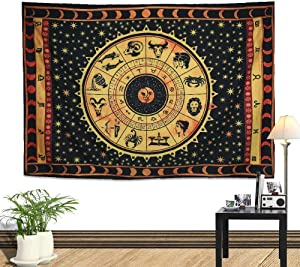 """Zeronal Zodiac Tapestry, 59""""x 79"""" Astrology Celestial Psychedelic Art Wall Hanging for Bedroom Living Room Dorm Wall Decor, Horoscope Tapestries Wall Art"""