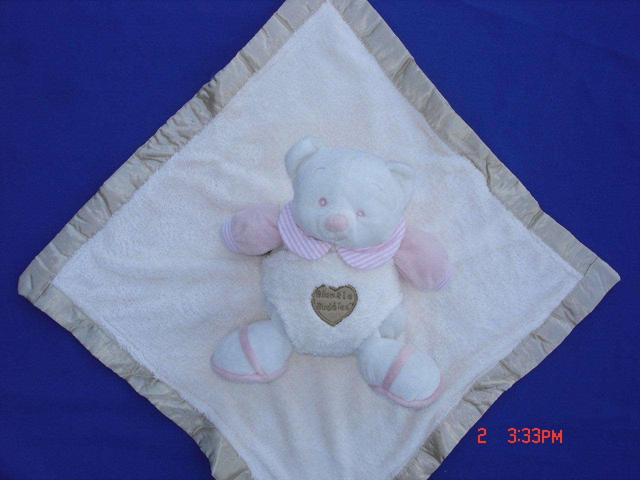 Ellis Baby Blankie Buddies Super Soft 2-in-1 Security Blanket Banky 18x18 Beige Blankie Lovie w/ 7 Tall Baby Pink Teddy Bear Rattle Toy by Ellis Baby Collection   B004BAAY06