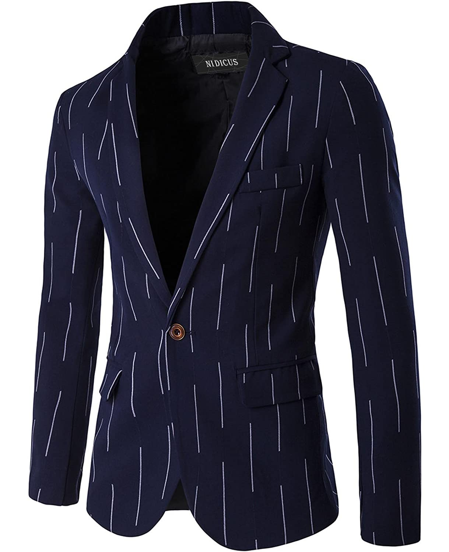 Nidicus Mens Casual Peaked Lapel Fit 1-Button British Stripe Blazer Jacket