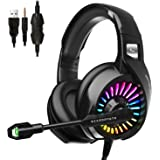 Gaming Headset with Microphone,ONFINIO PS4 Headset Xbox One Headset with RGB Light, Wired PC Headset with 7.1 Stereo Surround