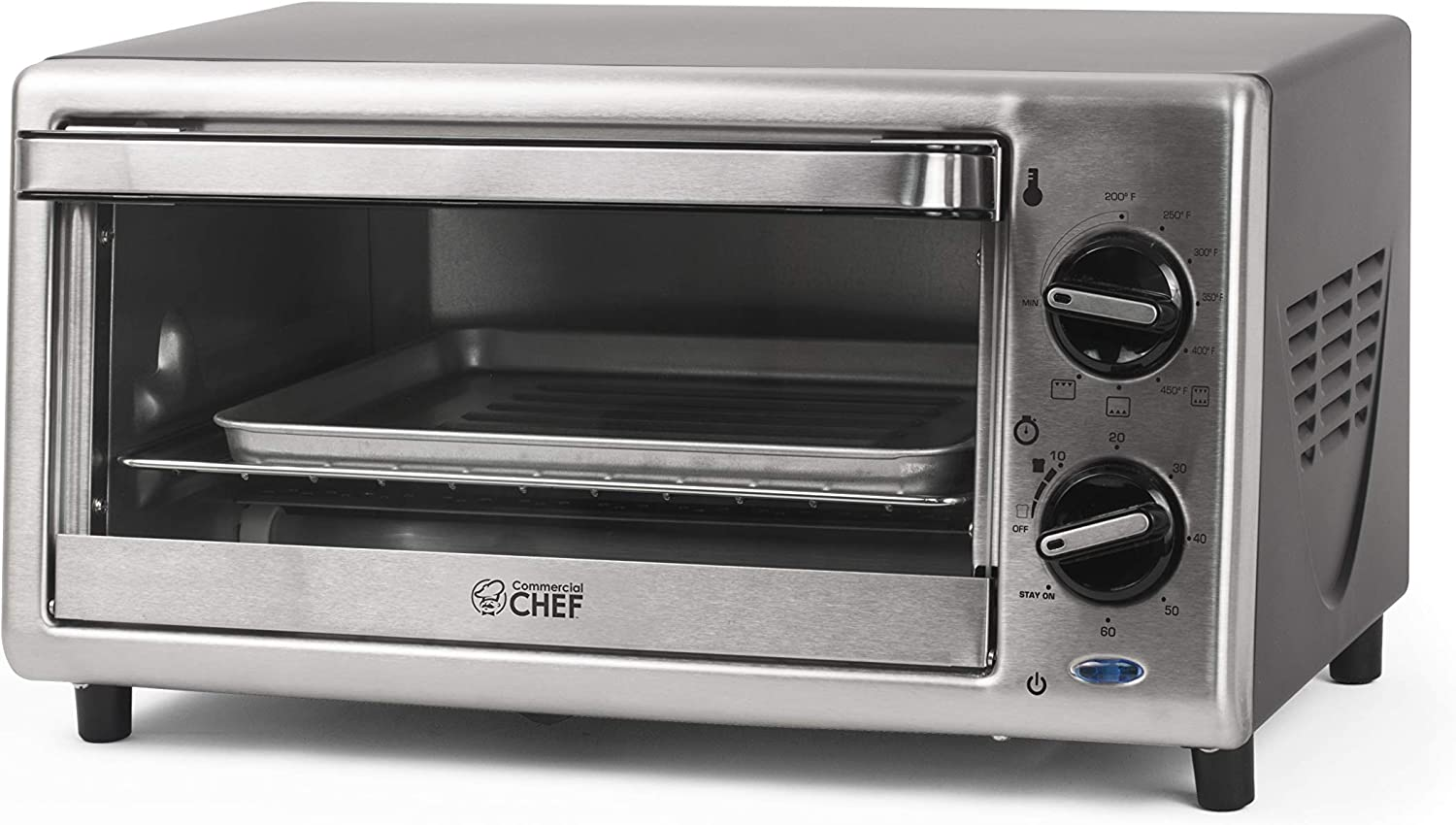 Commercial Chef CHTO2010S Toaster Oven, 0.4 Cubic Feet, Stainless Steel