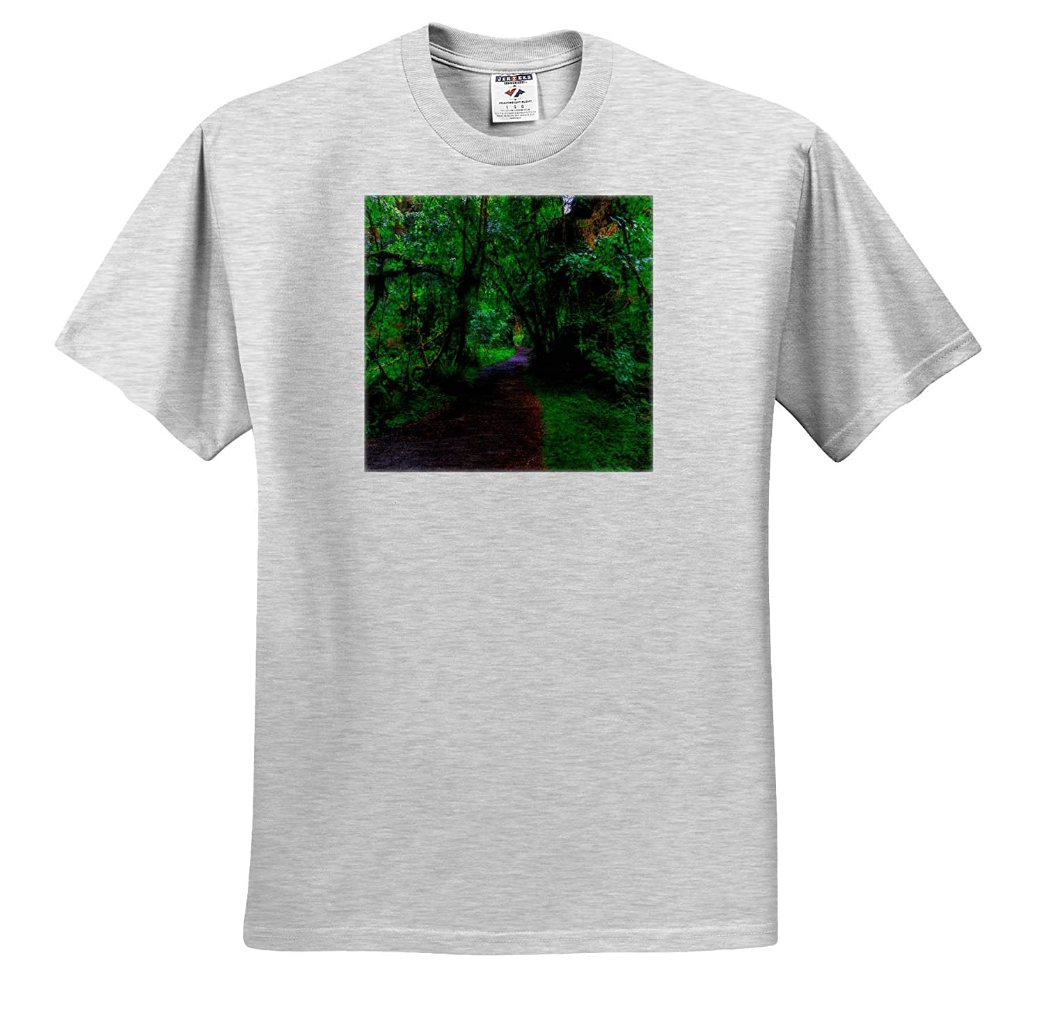 3dRose Mike Swindle Photography T-Shirts Landscapes Path Through Green Forest