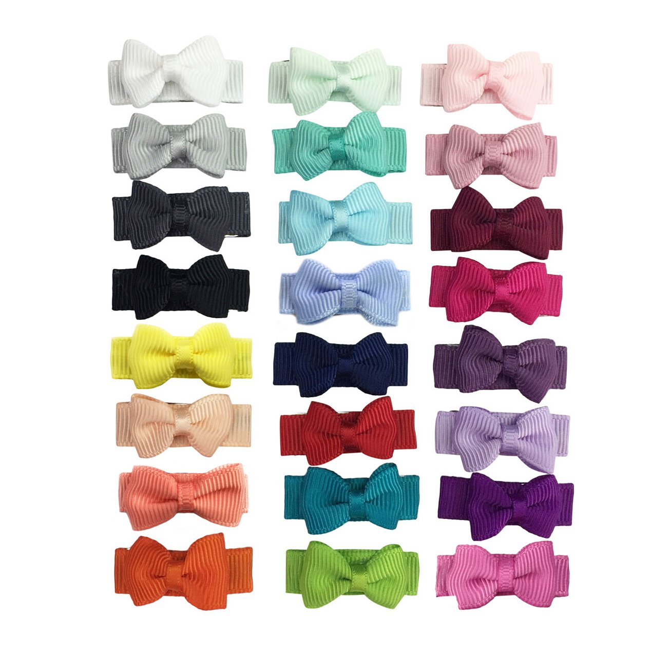 Baby Wisp 24 Tiny Grosgrain Tuxedo Bow Hair Clips Baby Girls Toddlers Accessory