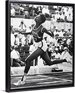 CANVAS ON DEMAND Wilma Rudolph Winning The 100 Meter Dash in The 1960 Summer Olympics in Rome Black Floating Fra.