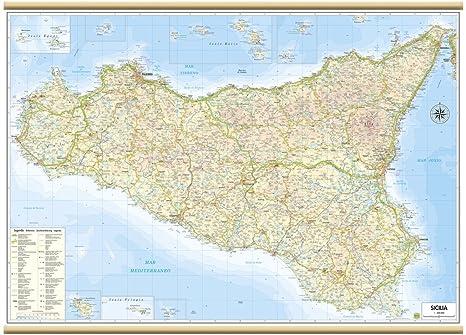 Cartina Sicilia Fisico Politica.Sicilia Carta Regionale Murale 97x70 Cm Belletti Amazon It