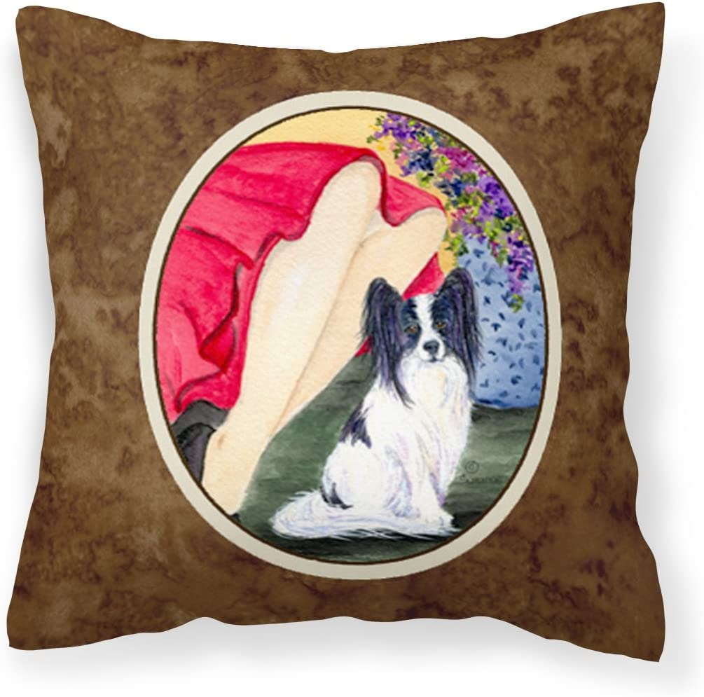 Caroline S Treasures Ss8523pw1414 Lady With Her Papillon Decorative Canvas Fabric Pillow 14hx14w Multicolor Garden Outdoor
