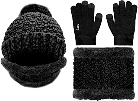 Unisex Winter Hat Scarf Set Knit Beanie Gloves Mitten and Scarf Set Thermal Hat Scarves Touch Screen Gloves