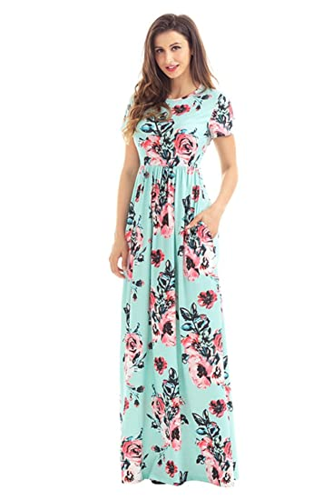 ee34b22885d Women s Short Sleeve Maxi Dress Floral Print Loose Swing Casual Long Dresses  with Pocket at Amazon Women s Clothing store