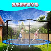 SEETOYS Trampoline sprinklers Trampoline Water Play Sprinklers for Kids (50ft) ,Outdoor Trampoline Spary Park Fun Summer Water Toys,Great for Boys & Girls,Attached On Trampoline Safety Net Enclosure.