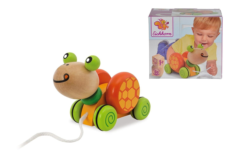 Eichhorn 100005553 - Nachziehtier Schildkröte, mit Bewegung, 15cm, FSC 100% Zertifiziertes Birkenholz SIMF5 Für Babys ab 12 Monaten Non Books Non Books / Spielzeug