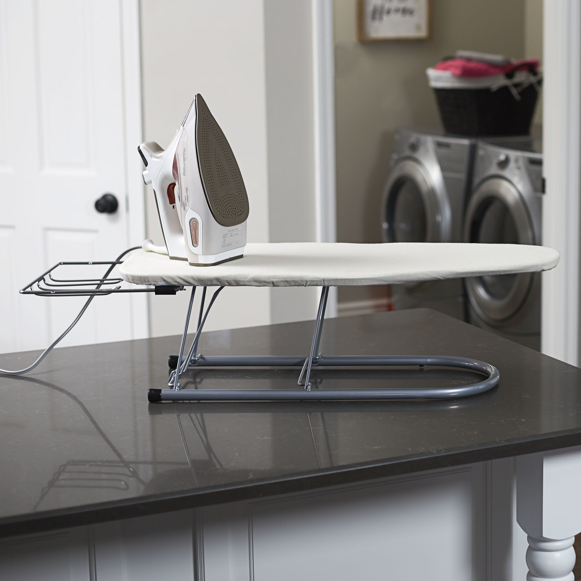 Household Essentials 131210 Small Steel Table Top Ironing Board with Iron Rest | Natural Cover