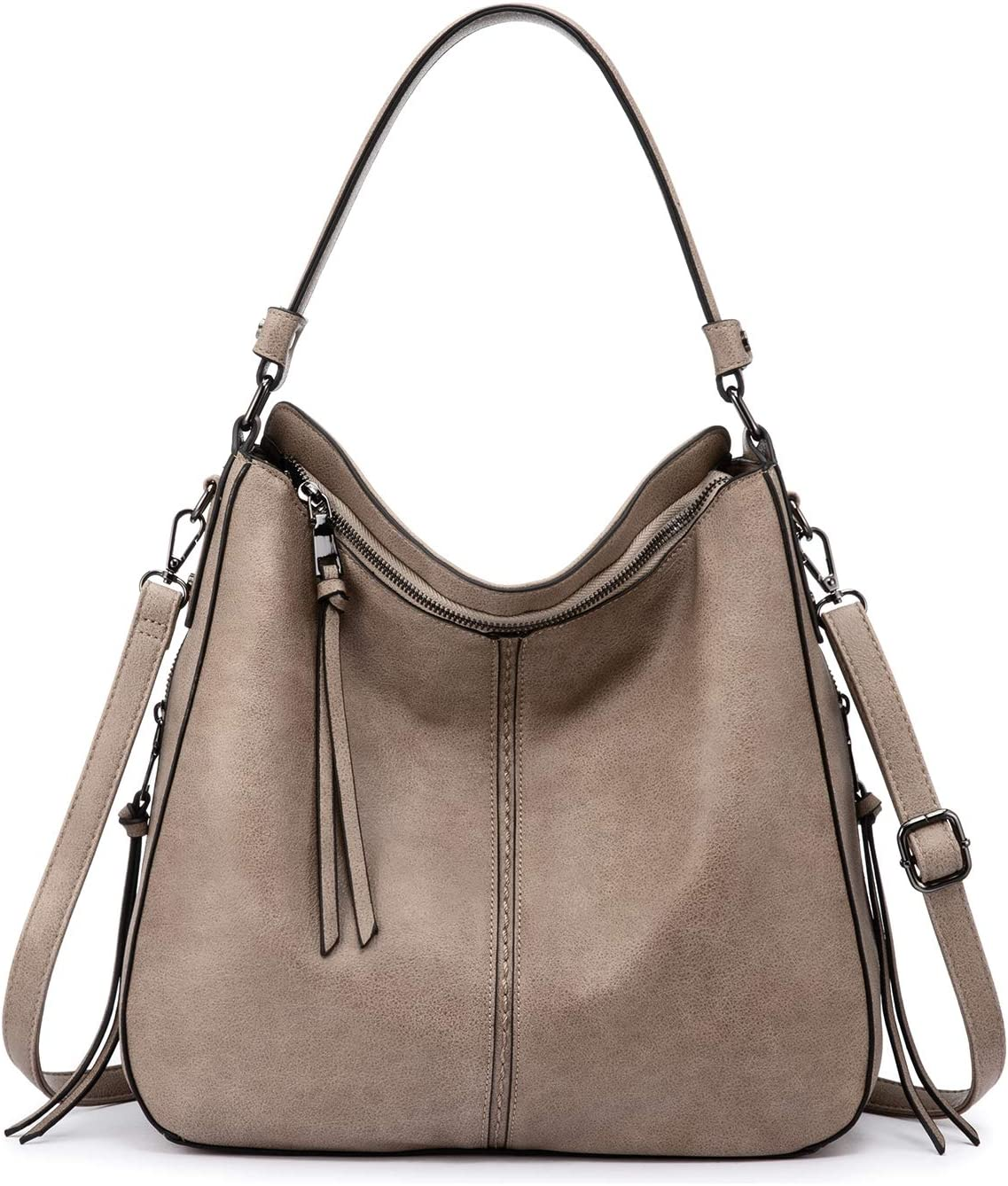Ladies Fashion Hobo Shoulder Bags With Pouch Faux Leather Large Size Handbags UK