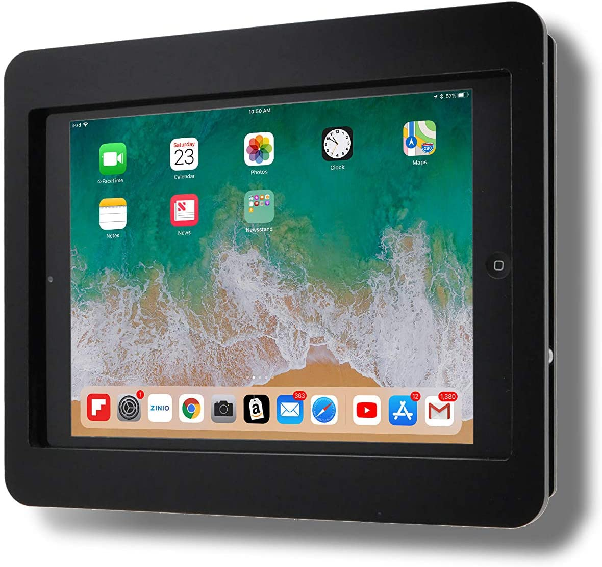 "TABcare Anti-Theft Acrylic VESA Enclosure for Apple iPad Air 9.7"" 1st & 2nd gen. with Free Wall Mount Kit & 90-Degree Angle Charge Cable (iPad Air 1/2 9.7"", Black)"