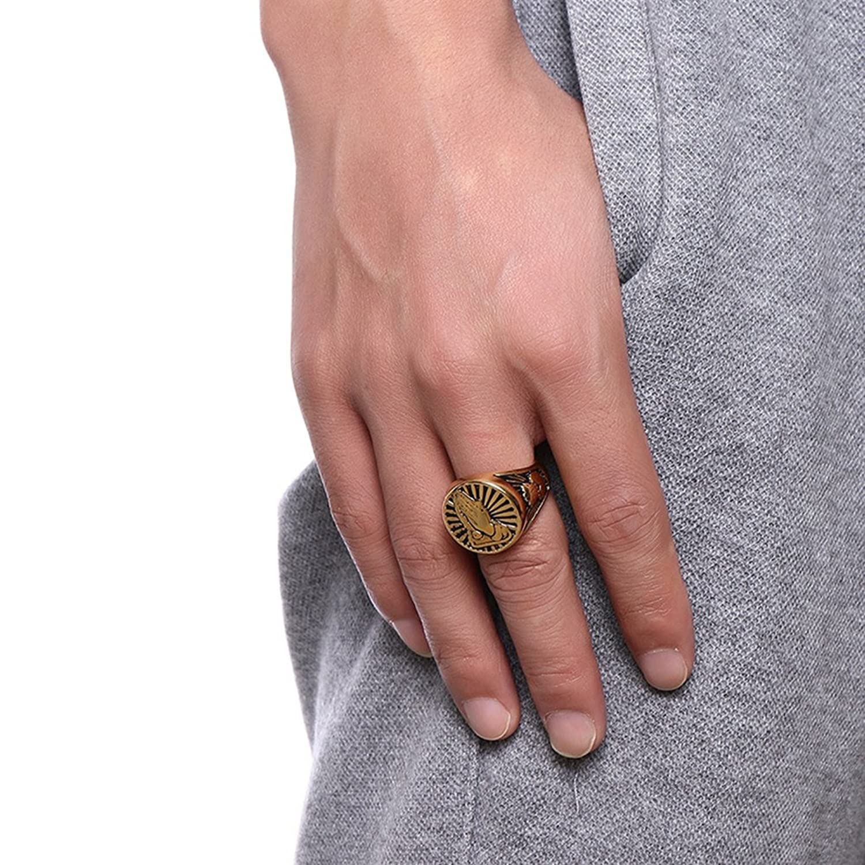 JAJAFOOK Men\'s Stainless Steel Praying Hands Round Signet Ring Band ...