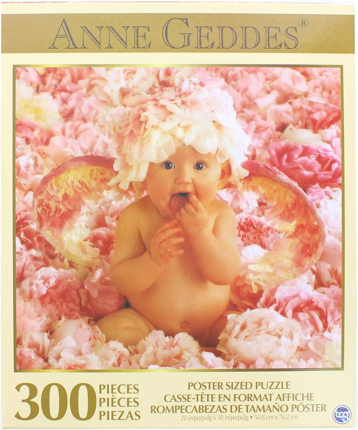 """Anne Geddes Baby in Pink Flowers 300 Piece Puzzle 20"""" X 30"""" Inches"""