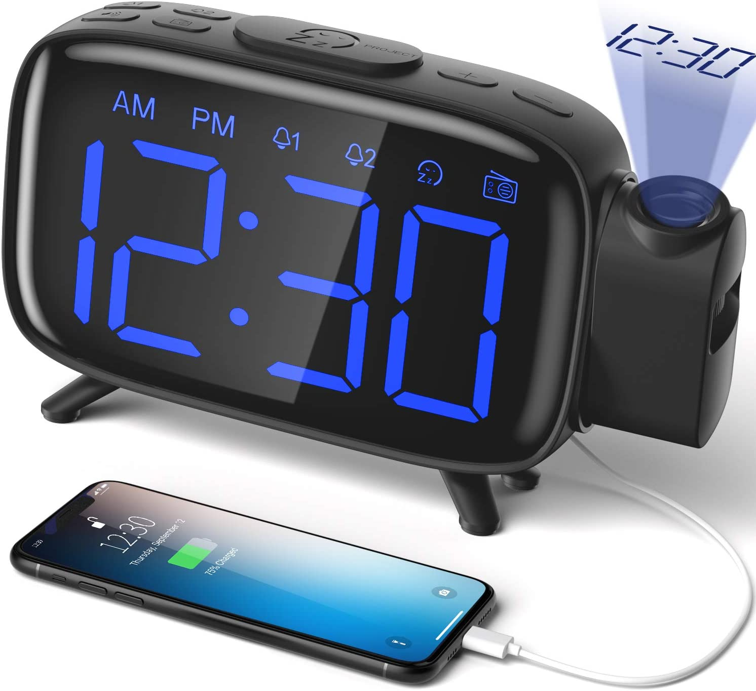 ELEHOT Projection Alarm Clock Radio Alarm Clock Digital Clock with Power Adapter Alarm Clocks for Bedrooms