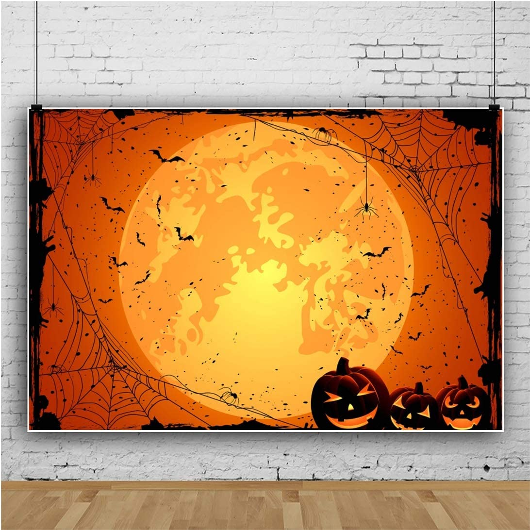Yeele 10x7ft Halloween Themed Photography BackdropSpider on The Orange Background Kids Adult Acting Show Portrait Ghost Evil Carnival Party Decor Banner Photoshoot Props