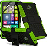 ONX3® Nokia Lumia 630 Harte Survivor Hard Robuste Shock Proof Heavy Duty Case mit Ständer + LCD Screen Protector Guard - Verschiedene Farben (grün)