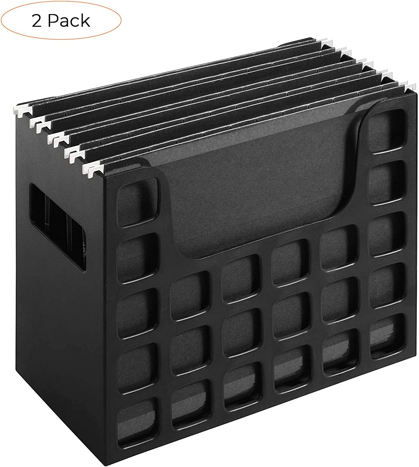Pendaflex Portable Desktop File, Side Handles, Hanging File Folders, Tabs & Inserts, Letter Size, 9-1/2 Inches x 12-3/16 Inches x 6 Inches, Black (23013) (Twо Расk)