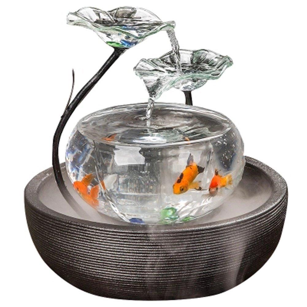 il più economico JIANGU acquario soggiorno d' acqua Fontana mobile TV piccolo ornamenti ornamenti ornamenti in ceramica fontana ufficio desktop creative Fish Tank  shopping online di moda
