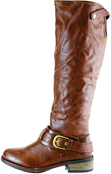 717d73a6b6e Qupid RELAX-39 Basic Casual Knee High Stacked Heel Buckle Riding Boot