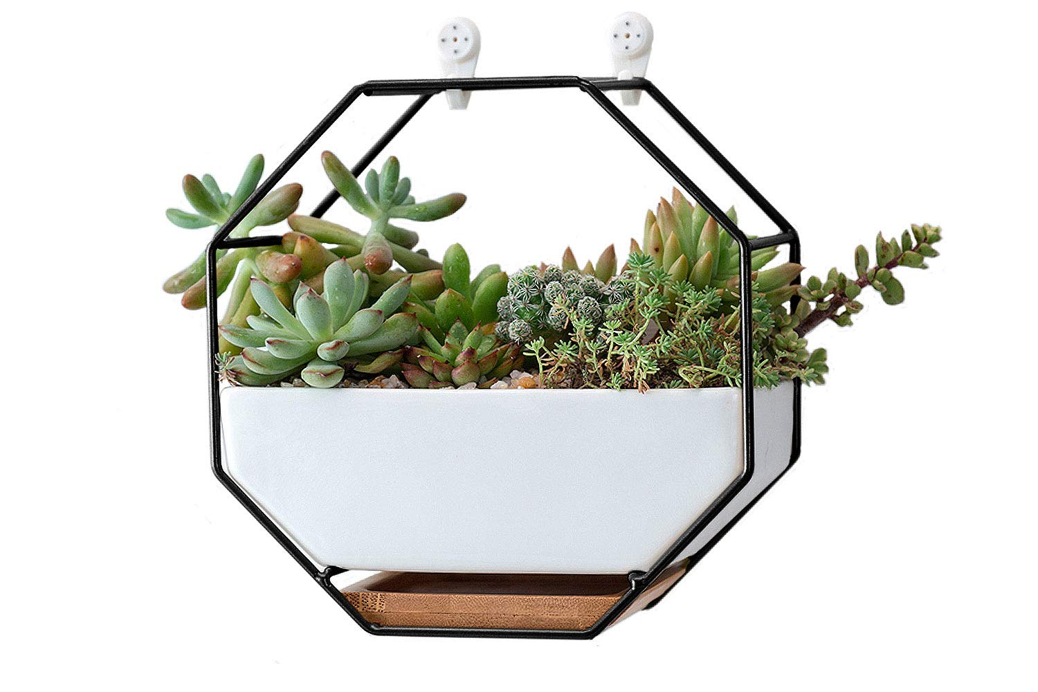 VanEnjoy 7 White Ceramic Wall Planters Vase and Copper,Drainage Hole with Bamboo Tray – Succulent Pot Air Plants Mini Cactus Artificial Flowers Hanging Geometric Hexagon Wall Decor Black Metal