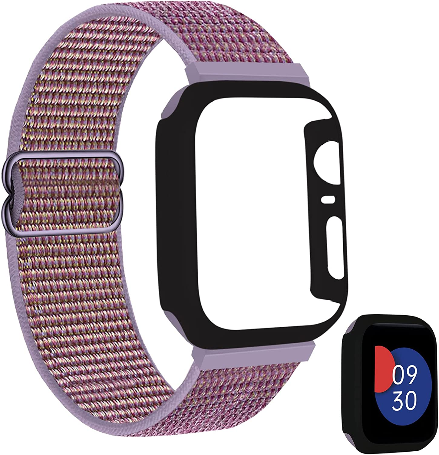 FnKer Nylon Band with Case Compatible for Apple Watch Band 38mm 40mm 42mm 44mm, Sport Braided Solo Loop Velcro Breathable Soft Nylon Replacement Strap Compatible with iWatch Series 1/2/3/4/5/6/SE
