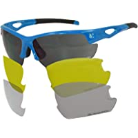 VeloChampion Blue Tornado Cycling Running Sports Sunglasses - with 3 Sets of Lenses and Soft Pouch