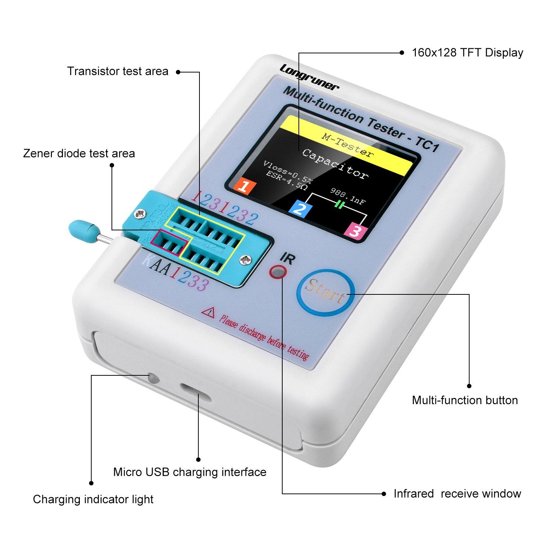 White Longruner 1.8 inch Colorful Display Pocketable Multifunctional TFT Backlight Transistor LCR-TC1 Tester for Diode Triode Capacitor Resistor Transistor LCR ESR NPN PNP MOSFET