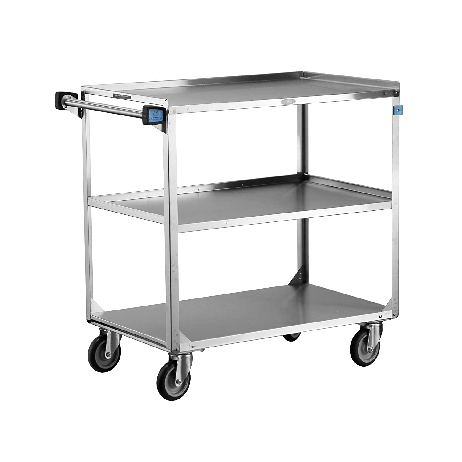 Lakeside 444 Utility Cart Stainless Steel 3 Shelves 500 Lb Capacity Fully Assembled Industrial Scientific