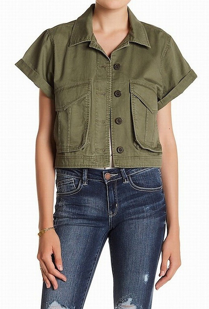 Jolt Army Cropped Women's Military Cotton Jacket