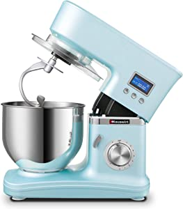 Hauswirt Stand Mixer, 3-IN-1 5.3-Qt 8-Speed Tilt-Head Electric Food Mixer With Digital Timer, Planetary Mixing To Knead Dough, Whip Cream, Beat Butter, Make Bread, Cake, Pizza, Pasta - Blue